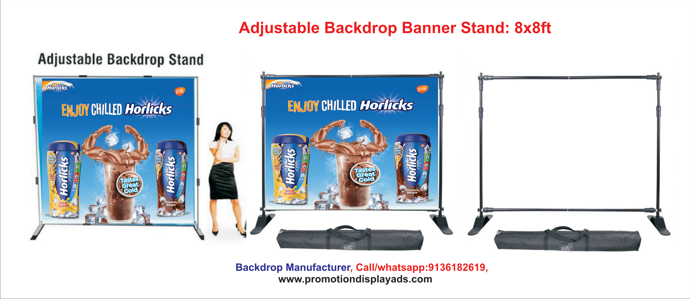 Adjustable Backdrop Banner Stand Pop Up Display Stand